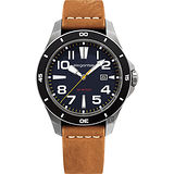 elegantsis JT65 騎士系列復古潮流腕錶-藍x咖啡/48mm ELJT65-2B02LC