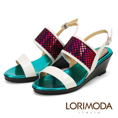 【LORIMODA】真皮手工鞋 五彩皮革雙背帶低跟楔型涼鞋 CANTANZARA21(米白)