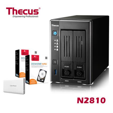 Thecus色卡司  2bay NAS 多媒體NAS伺服器  N2810+HGST 4TB NAS碟*2+ Cyberpower行動電源