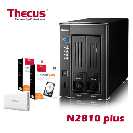 Thecus色卡司  2bay NAS 多媒體NAS伺服器  N2810 PLUS+HGST 4TB NAS碟*2+Cyberpower行動電源