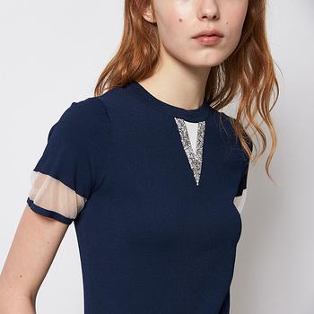 ICHE 衣哲 簡約百搭拼接紗造型針織上衣 兩色