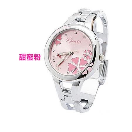 【17mall】金米歐KIMIO亮彩晶鑽幸運草時尚氣質女用手鐲手錶-甜蜜粉