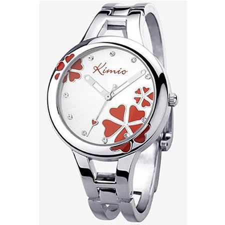 【17mall】金米歐KIMIO亮彩晶鑽幸運草時尚氣質女用手鐲手錶-薔薇紅