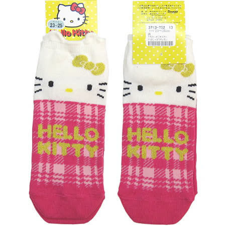 【波克貓哈日網】日系腳踝襪◇Hello kitty 凱蒂貓◇《桃紅格紋》