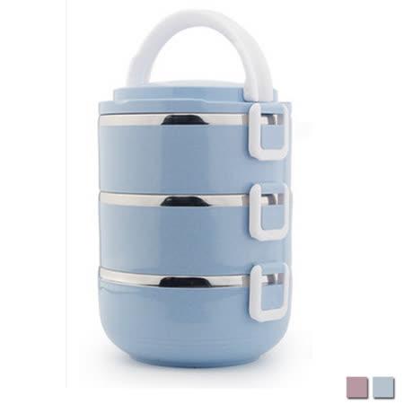 PUSH! 餐具用品不銹鋼保溫飯盒防燙3層便當盒E93藍色