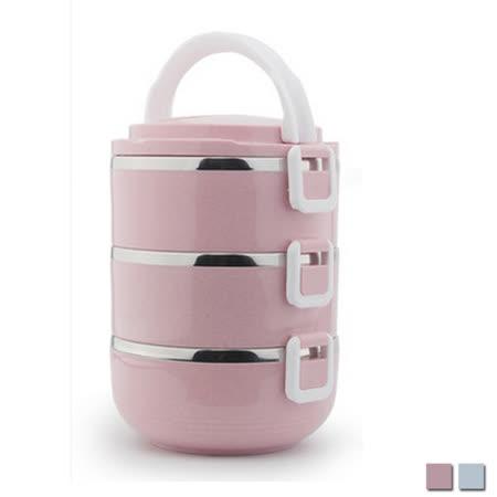 PUSH! 餐具用品不銹鋼保溫飯盒防燙3層便當盒E93-1粉色