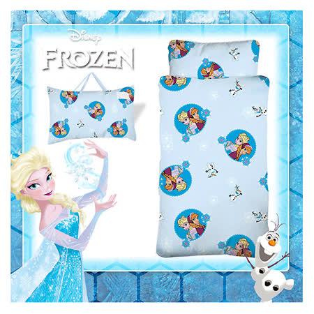 【冰雪奇緣】FROZEN冰雪經典幼教兒童睡袋-繽紛雪花-粉藍