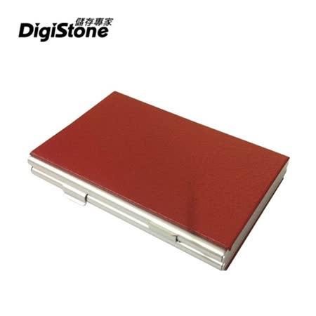DigiStone 仿皮革超薄型Slim鋁合金 12片裝雙層多功能記憶卡收納盒(4SD+8TF)-紅色