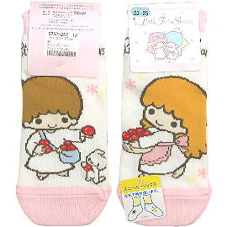 【波克貓哈日網】日系腳踝襪◇雙子星 kiki & lala◇《白底粉邊》