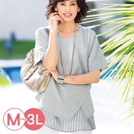 日本Portcros 預購-異素材寬袖前開叉造型上衣(共六色M-3L)