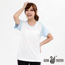【遊遍天下】台灣製吸濕排汗機能圓領衫(品特 白藍 )