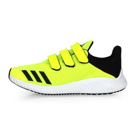 (童) ADIDAS FORTARUN CF K 男女中運動鞋-鞋 慢跑 路跑 螢光黃黑