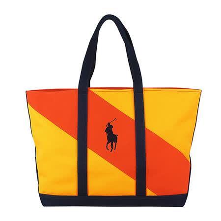 POLO 展示品 經典戰馬LOGO雙配色帆布托特肩背購物包(大/黃+橘)