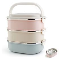 PUSH! 餐具用品不銹鋼保溫飯盒防燙3色組合3層便當盒E91