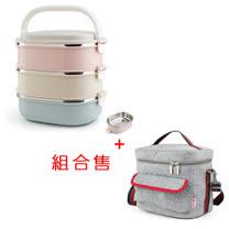 PUSH! 餐具用品不銹鋼保溫飯盒防燙3色組合3層便當盒加保溫袋E91-1