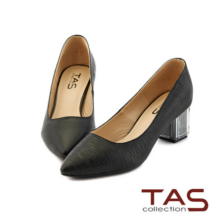 TAS 素面羊皮壓紋尖頭透明水晶跟鞋-低調黑
