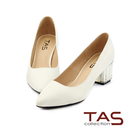 TAS 素面羊皮壓紋尖頭透明水晶跟鞋-簡約白