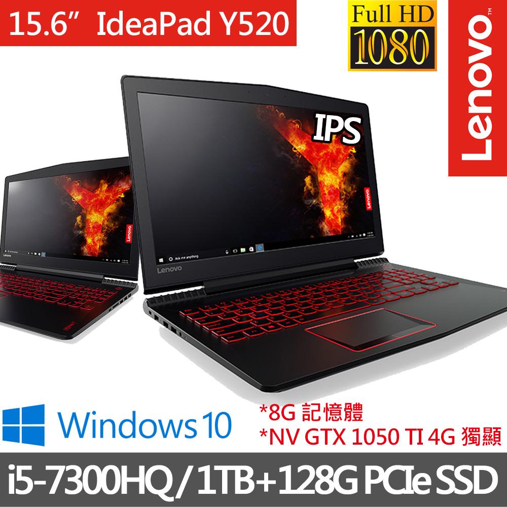 Lenovo IdeaPad Y520 15.6吋/i5-7300HQ四核心/GTX1050Ti_4G獨顯/8G/1TB+128GPCIeSSD雙碟/Win10極速 電競筆電(80WK001ETW)