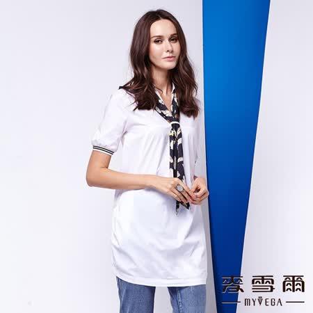 【麥雪爾】襯衫式印花領巾純棉長版上衣