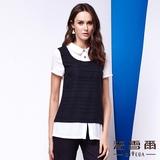 【麥雪爾】襯衫式黑白拼接棉質上衣