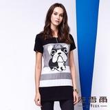 【麥雪爾】動物圖案條紋拼接棉質上衣
