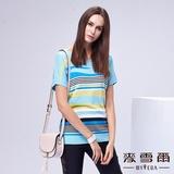 【麥雪爾】條紋鑲鑽純棉針織上衣-水藍