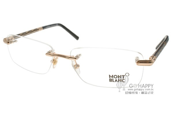MONTBLANC 光學眼鏡 完美無框設計款(金-黑) #MB432 C006