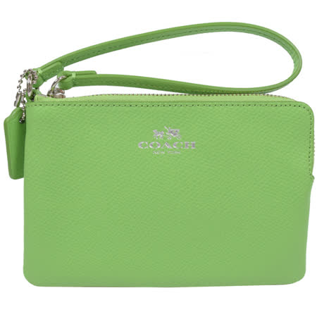 COACH 馬車LOGO織布皮飾邊扣環手拿包.薄荷綠