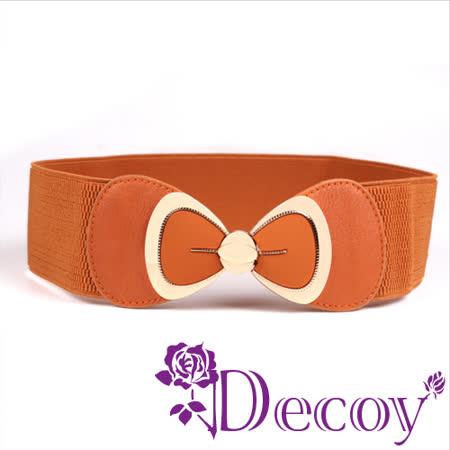 【Decoy】裙襬蝴蝶結*金框皮革彈性腰封/四色可選