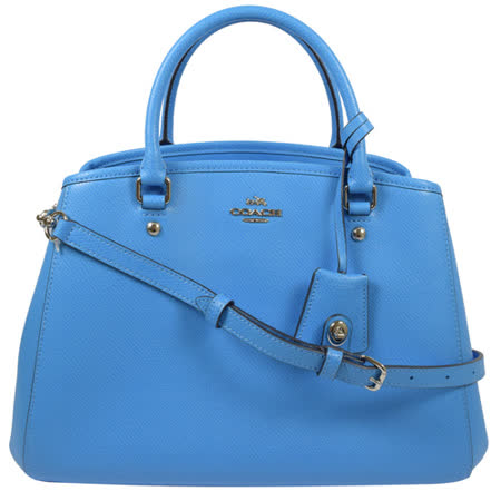 COACH 馬車LOGO防刮皮革兩用三層仕女包.藍(大)