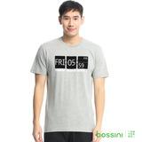 bossini男裝-印花短袖T恤34淺灰