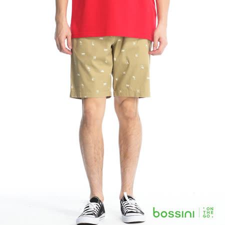 bossini男裝-印花輕便短褲03淡卡其