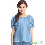 bossini女裝-直條紋牛仔短袖上衣13淡靛藍