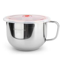 PUSH!餐具防燙防摔升級加厚304不鏽鋼碗泡麵碗飯碗湯碗帶日期指針蓋E87