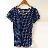 日本CIELO 現貨-點點蕾絲邊領上衣(藍色/L)