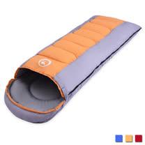 PUSH! 登山戶外用品 全開式可拼接帶帽帶防風領圍1.6KG優質親膚四季睡袋(一入)P96橙色
