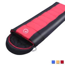PUSH! 登山戶外用品 全開式可拼接帶帽帶防風領圍1.6KG優質親膚四季睡袋(一入)P96-1紅色