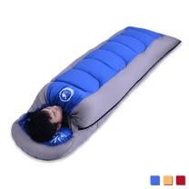 PUSH! 登山戶外用品 全開式可拼接帶帽帶防風領圍1.6KG優質親膚四季睡袋(一入)P96-2藍色