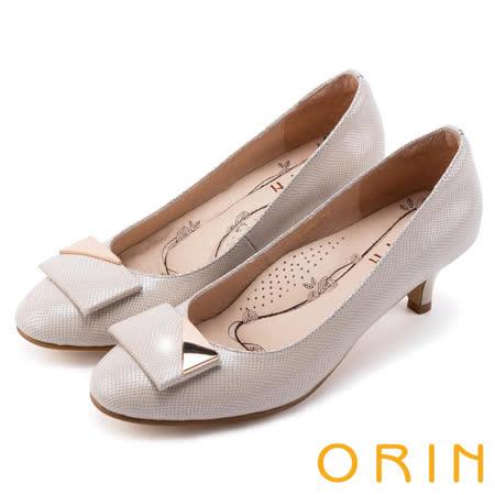 ORIN 氣質時尚名媛 嚴選羊皮質感中跟鞋-米色