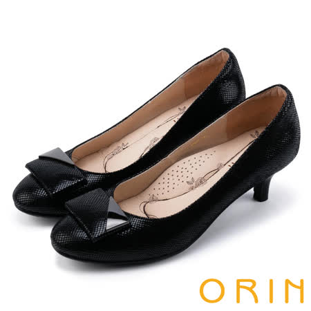 ORIN 氣質時尚名媛 嚴選羊皮質感中跟鞋-黑色