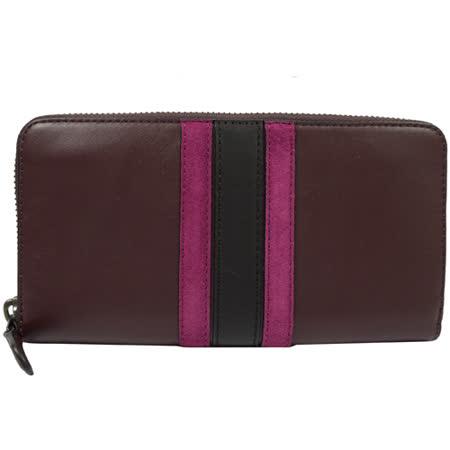 COACH 質感全皮革壓紋撞色條紋拉鍊長夾.暗紫紅
