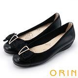 ORIN 典雅甜美 水鑽造型飾釦蝴蝶結牛皮娃娃鞋-黑色