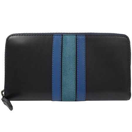 COACH 質感全皮革壓紋撞色條紋拉鍊長夾.深藍