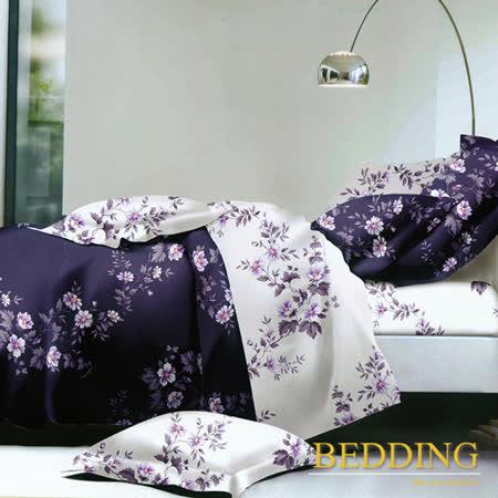 【BEDDING】 活性印染 雙人床包涼被組  香奈花語-紫