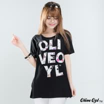 【Olive Oyl奧莉薇】縫鑽字母彈性柔棉長版上衣(共二色)