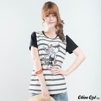 【Olive Oyl奧莉薇】印圖水鑽彈性條紋棉質T恤(共二色)