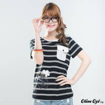 【Olive Oyl奧莉薇】印圖口袋彈性條紋棉質T恤(共二色)