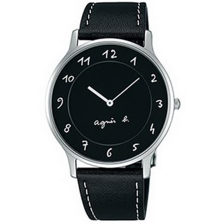 【agnes b.】法式時尚藝術時標腕錶-黑/39mm VJ20-K240Z(BJ5005X1)