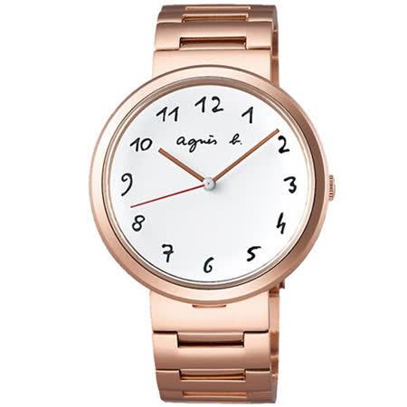 agnes b. 自由時尚腕錶-白x玫塊金/36mm (BH8028X1)VJ21-KJ50K