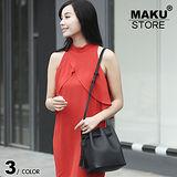 【MAKU STORE】韓版個性流蘇 休閑可愛 簡約百搭斜背小水桶包-黑色